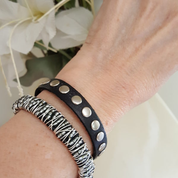 Silver Beaded Stacking Bracelets Set