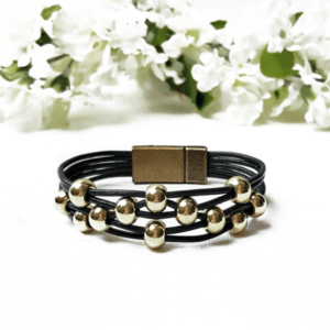 Black Leather Womens Bracelet with gold beads and magnetic clasp