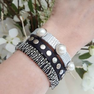 Leather Beaded Stacking Bracelets