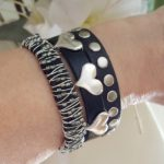 Three of my black and silver stacking bracelets on the arm. They all work together.