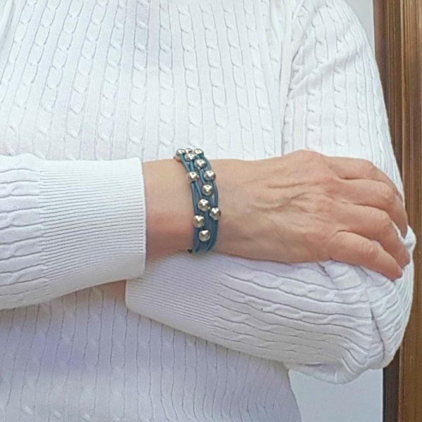 Dark Blue Leather Bracelet on the wrist