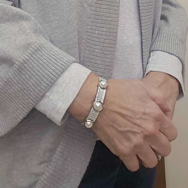 Pearl and Leather Stack Bracelet with Magnetic Clasp