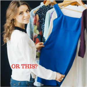 Woman Building Awesome Wardrobe with Blue Dress