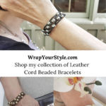Collection of leather cord beaded bracelets.
