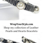Collection of leather pearls and hearts leather bracelets.