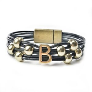 Initial Bracelet B Grey Leather.