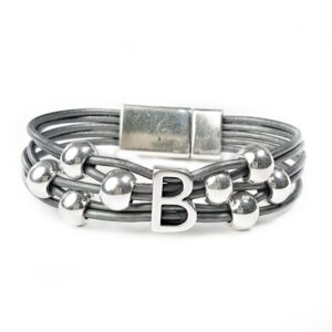Grey leather initial bracelet with silver initial and beads