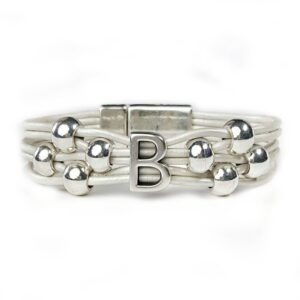 White leather initial bracelet with silver initial B and beads