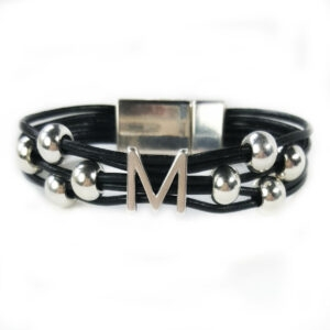 Black leather bracelet with silver plated beads and one silver initial.