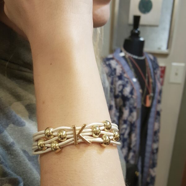 White Leather Cord Bracelet with gold intial and beads.