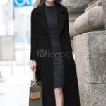 Women's long wrap overcoat for winter