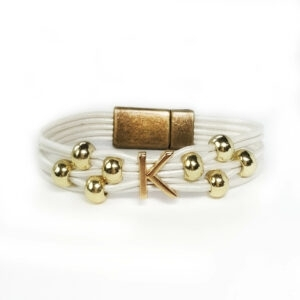 White Leather Cord Bracelet with gold initial.