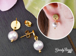 DIY picture of golden pearl post earrings.