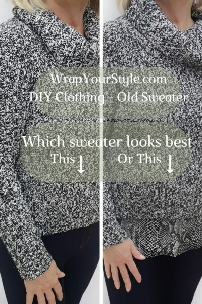 Woman showing DIY Clothing Sweater before and after
