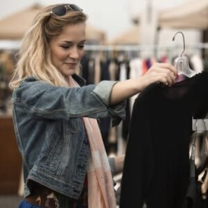 Woman shopping for own unique signature style.