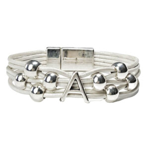 Initial A leather bracelet