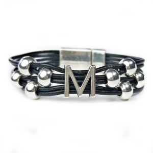 Grey Leather Bracelet Initial M silver