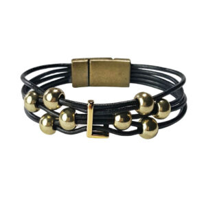Gold Initial L Bracelet Black Leather