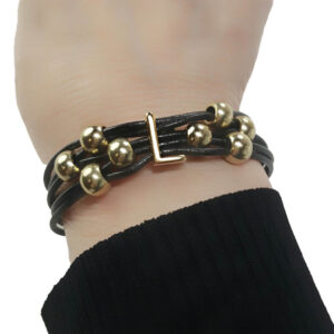 Black Leather Bracelet Initial L on wrist