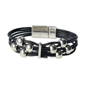 Black Leather Bracelet Silver Initial L