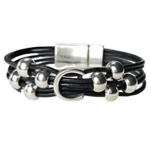 Black leather with silver C and beads.