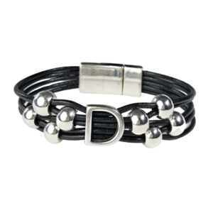 Black Leather Bracelet with Initial D