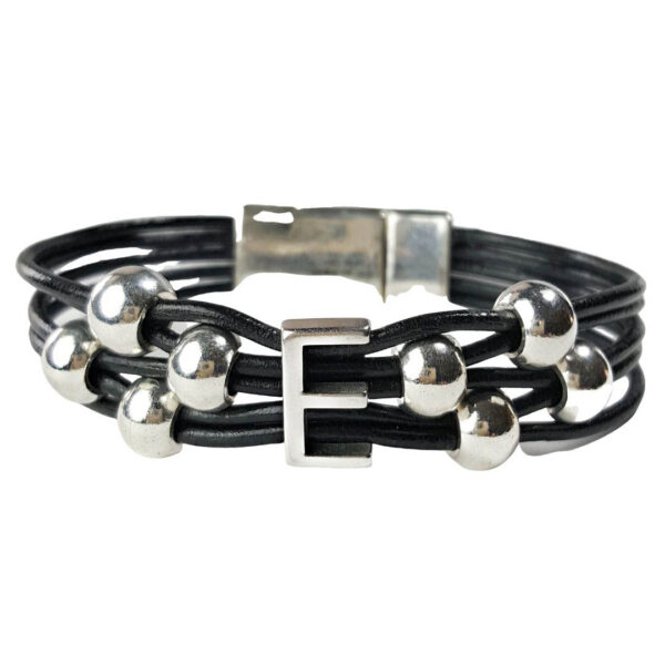 Black Leather Bracelet Initial E