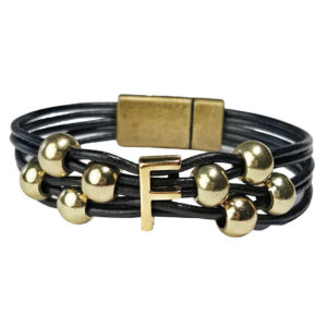 Initial Bracelet F with Black Leather