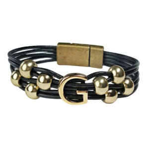 Black Leather Bracelet Initial G