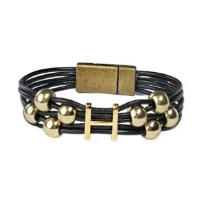 Initial H Black Leather Bracelet