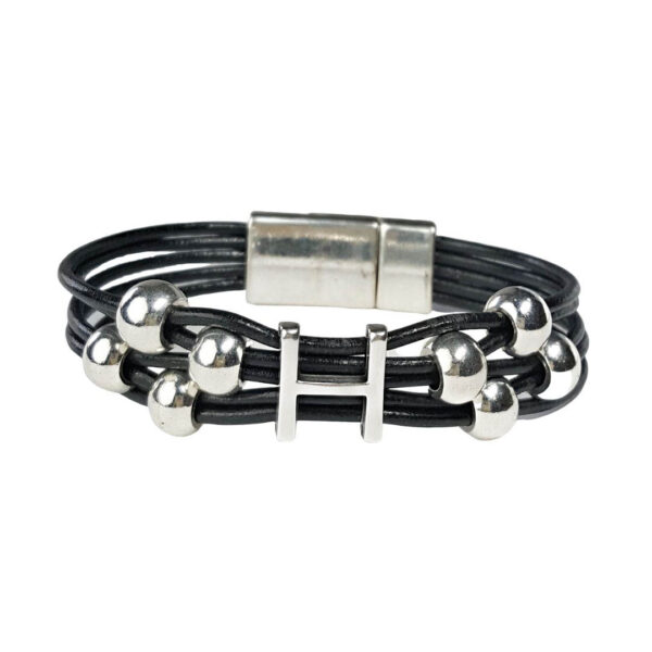Black Leather Bracelet Initial H