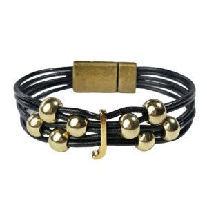 Black Leather Bracelet Initial J