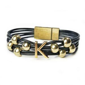 Gold Initial K Bracelet Black Leather