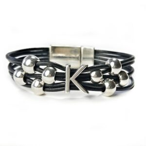 Black Leather Initial K Bracelet