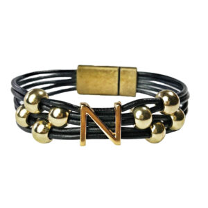 Black Leather Bracelet gold initial N