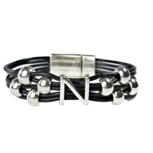 Initial N Black Leather Bracelet