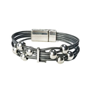 Grey Leather Bracelet Initial L