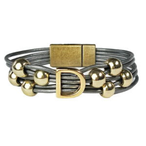 Grey Leather Bracelet Initial D gold.