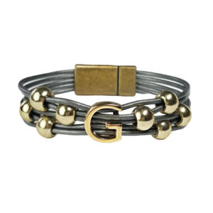 Grey Leather Initial Bracelet gold G