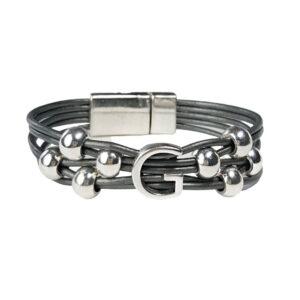 Grey Leather Initial Bracelet G