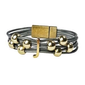 Initial Bracelet J Grey Leather