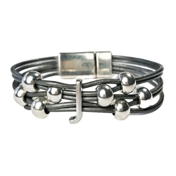 Initial J Grey Leather Bracelet