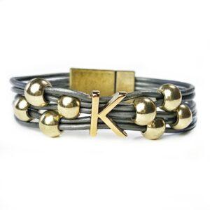 Grey Leather Bracelet Initial K Gold