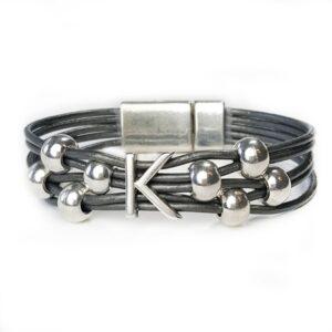 Grey Leather Silver Initial K Bracelet