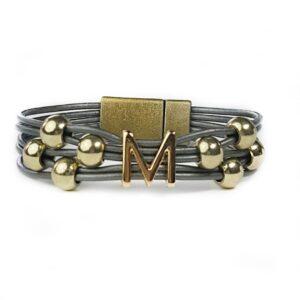 Grey Leather Bracelet Initial M