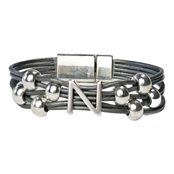 Initial N Grey Leather Bracelet
