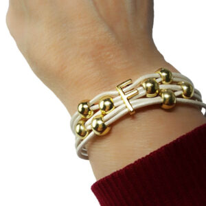 White leather bracelet initial F Gold