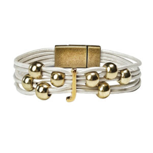 Initial J Bracelet White Leather