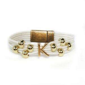 White Leather Bracelet Initial K Gold