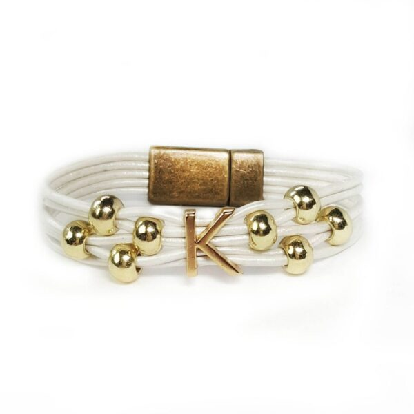 White Leather Bracelet Initial K Gold